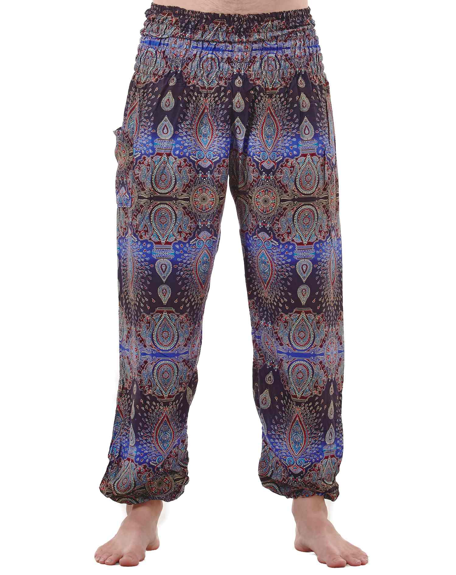 Men's Harem Pants Baggy pants up the coolness factor and comfort level while channeling both street-style and sporty luxe. Drawcord and elasticized waists complement the relaxed fit or these harem pants or genie pants from hip to hem while variegated lengths at .