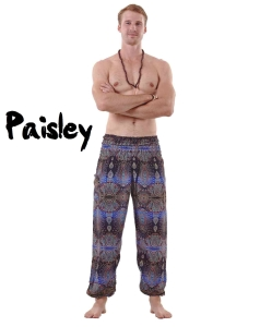 Awesome Paisley Men's Harem Pants in Black and Blue - Front pose