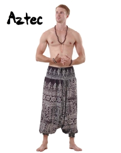 Aztec Harem Tribal Pants for Men in Black and White Hippie