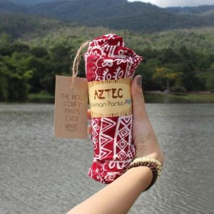 aztec pants in red wrapped