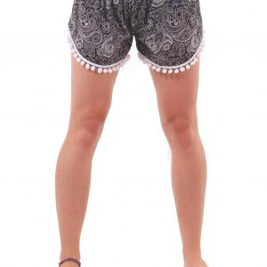 Coconut Harem Shorts Paisley Patterns in Black and White - closeup