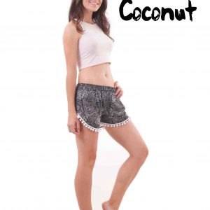Coconut Harem Shorts Paisley Patterns in Black and White - side