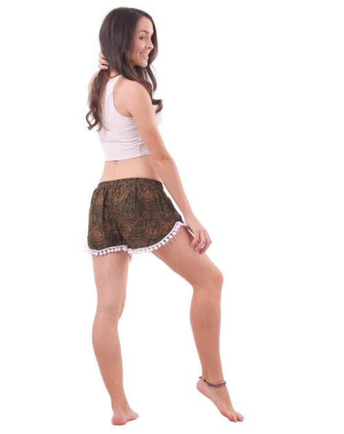 Coconut Harem Shorts Paisley Patterns in Brown - back