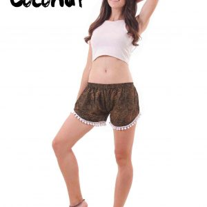 Coconut Harem Shorts Paisley Patterns in Brown - front