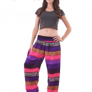 Elements Harem Boho Pants in Spring Colors - front