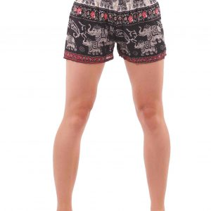 Harem Shorts Elephant Patterns in Black and Red - closeup