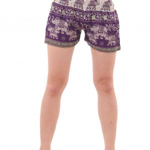 Harem Shorts Elephant Patterns in Purple & White - closeup