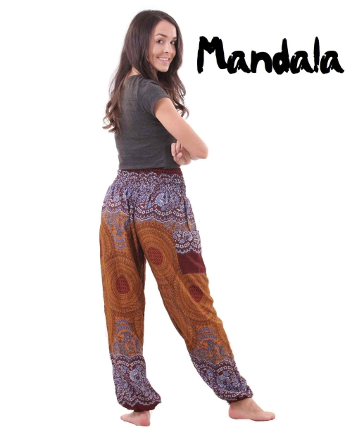 Mandala Harem Hippie Pants in Blue & Amber - back