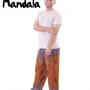 Mandala Harem Hippie Pants in blue and amber for Men - front