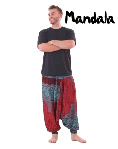 Mandala Harem Hippie Pants in Red and Turquoise for Men - front