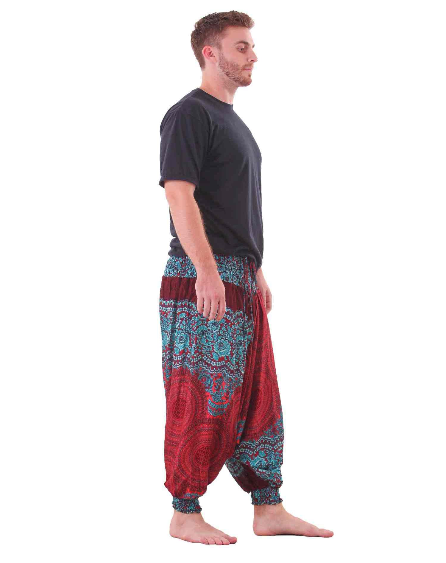 Mandala Harem Hippie Pants Drop Crotch in Red & Turquoise