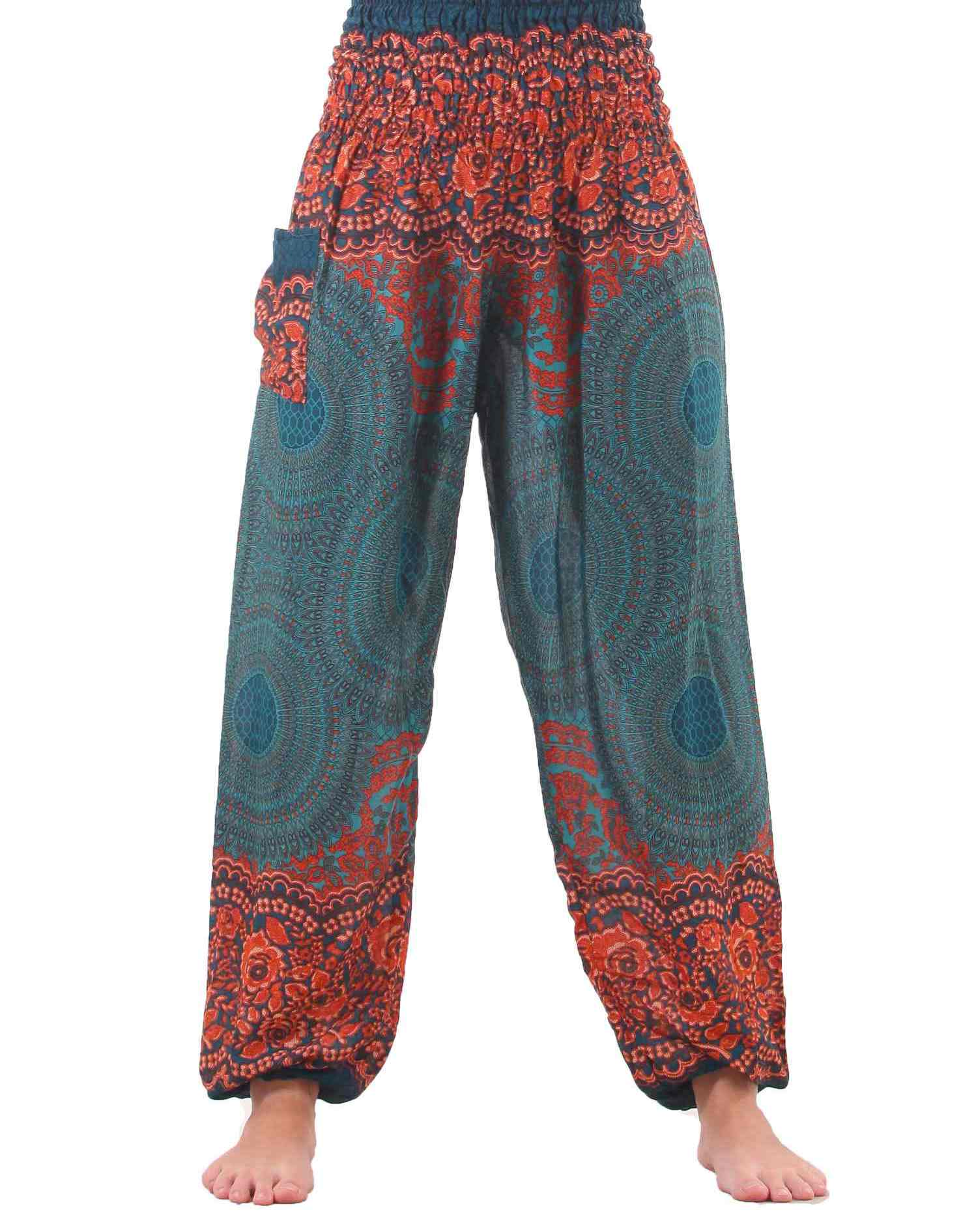plus size mandala harem hippie pants in turquoise for women