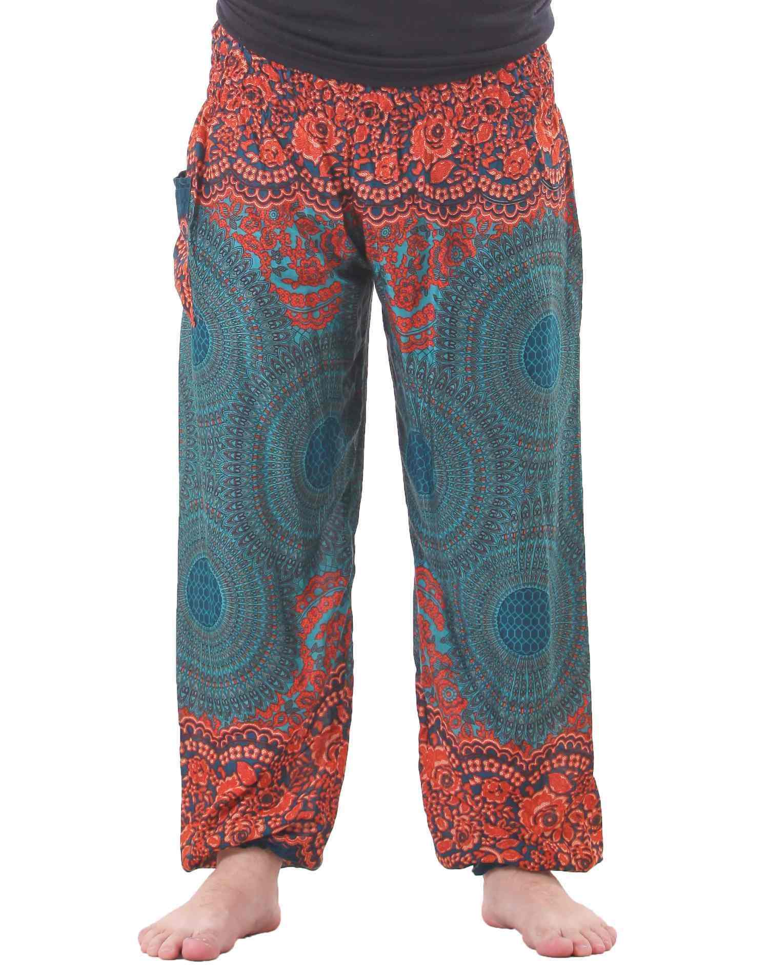 Mandala Harem Hippie Pants in Turquoise for Men