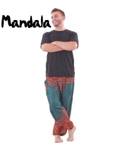 Mandala Harem Hippie Pants in Turquoise for Men - front
