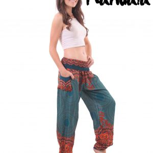 Mandala Harem Hippie Pants in Turquoise - side