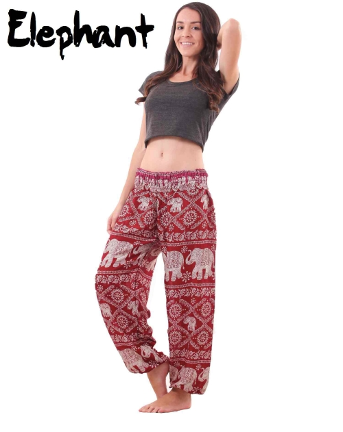 Harem Thai Elephant Pants in Red and White - front