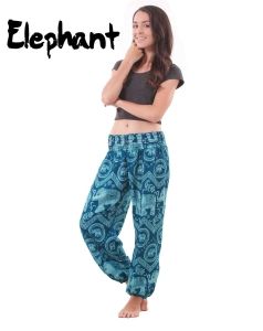 Harem Thai Elephant Pants in Teal - front