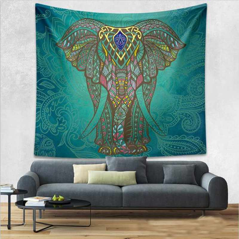 Tapestry Wall Hanging tapestry wall hanging in turquiose with elephant print - bohemian